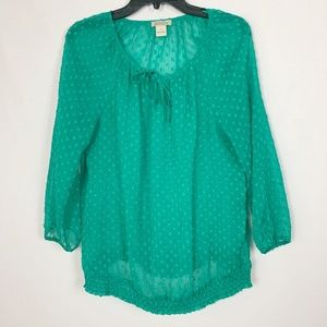 Lucky Brand Size L Green Boho Peasant Shirt Top